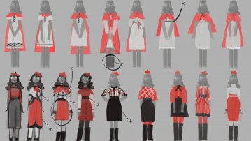 Early costume variations for Little Red, Artwork by Mira Mira, property of Magic Light Pictures